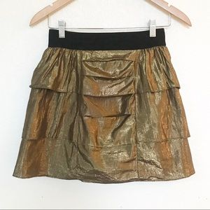 Bcbg generation metallic gold elastic band skirt